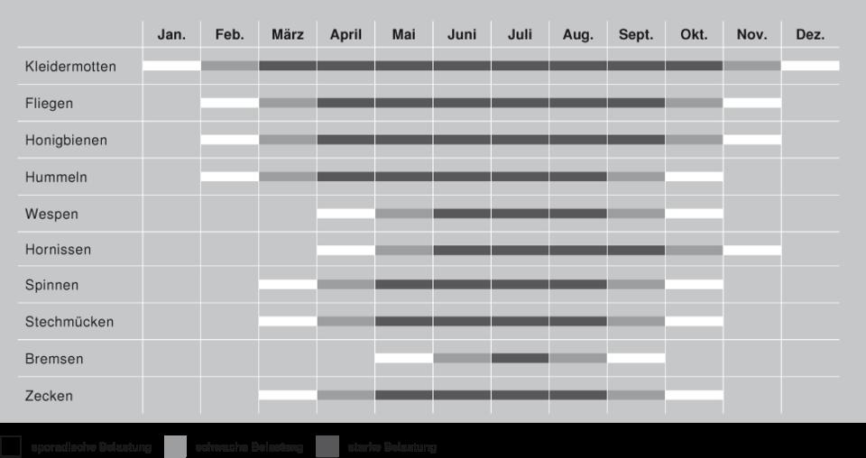 Insektenschutz - Jahreszeiten Chart